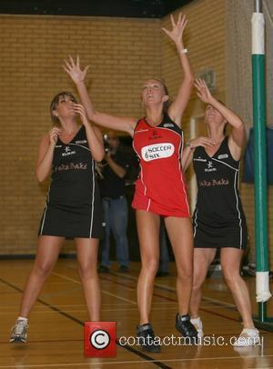 Michelle Heaton and Aisleyne Horgan-Wallace in action Celebrity Netball Sevens, held at Sport and Performing Arts Centre, Hackney Community College...