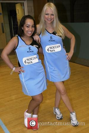 Hannah Sandling and Donatella Panayiotou Celebrity Netball Sevens, held at Sport and Performing Arts Centre, Hackney Community College London, England...