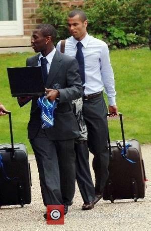 Shaun Wright-Phillips and Ashley Cole The Chelsea football squad leaving The Grove Hotel on their way to Wembley to play...