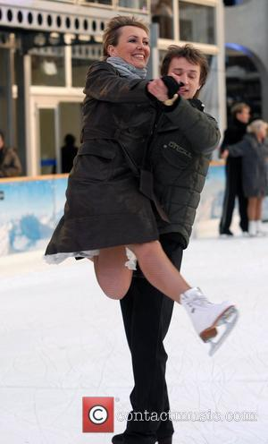 Aggie McKenzie skating on the ice before attending the 'Dancing On Ice' press launch at the Natural History Museum London,...