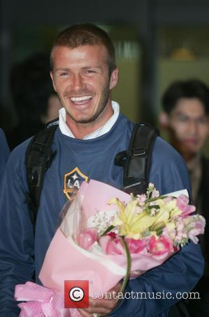 Soccer player David Beckham arrives with his team LA Galaxy at Incheon International Airport in Incheon, Korea. Beckham and LA...