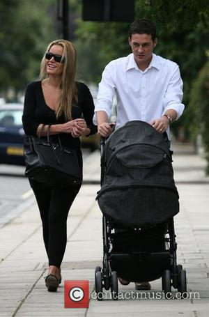 Davinia Taylor spends the afternoon with her husband Dave Gardner and their newborn son Grey in Primrose Hill. Also with...
