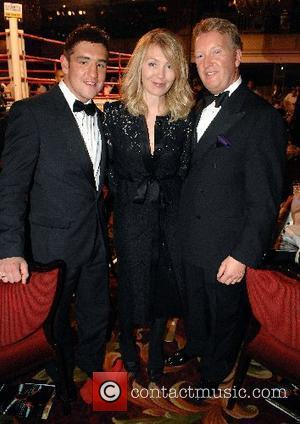 Kirsty Young, Frank Warren and guest Debra charity auction and boxing match held at the Grosvenor House London, England -...