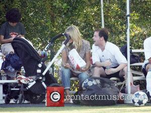 Declan Donelly sits with friends after playing football for Robbie William's Los Angeles Vale soccer team California, USA - 30.06.07
