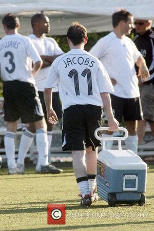 Declan Donelly wearing a team mates shirt whilst playing football for Robbie William's Los Angeles Vale soccer team California, USA...