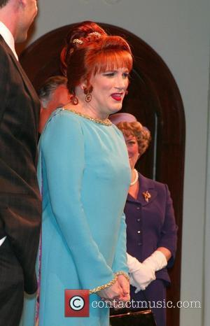 Charles Busch  on stage for the curtain call after the opening night performance of