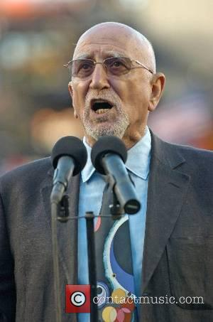 Dominic Chianese sings the national anthem before the Mets vs. Oakland Athletics game at Shea Stadium New York City, USA...