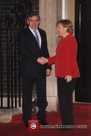UK Prime Minister Gordon Brown and German Chancellor Angela Merkel European leaders meet to discuss European financial policy at 10...