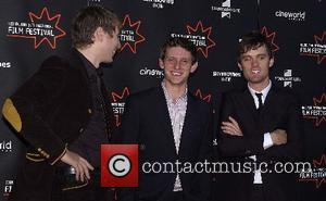 Franz Ferdinand singer Alex Kapranos, Jamie Bell and fellow band member Nick McCarthy attend the premiere of 'Hallam Foe' during...