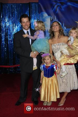 Jamie Bamber, wife Kerry Norton, daughters Isla and twins Ava and Darcy World Premiere of Disney's 'Enchanted' held at the...