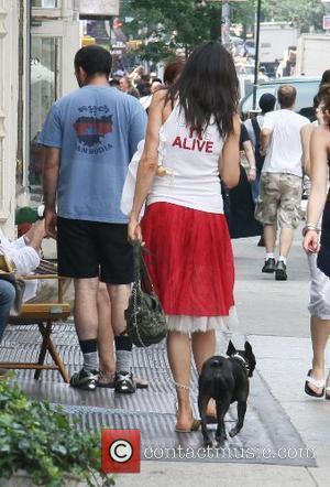 'X-Men' actress Famke Janssen takes her dog, Licorice, for a walk through SoHo New York City, USA - 28.06.07