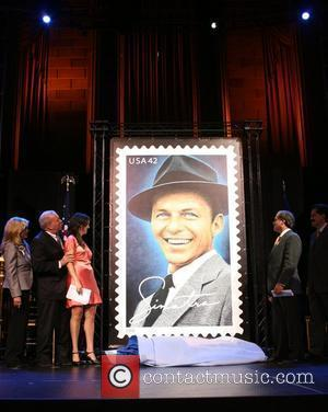 Nancy Sinatra, Frank Sinatra Jr., A.J. Lambert and United States Postal Service Board of Governors Alan Kessler 42-cent Frank Sinatra...