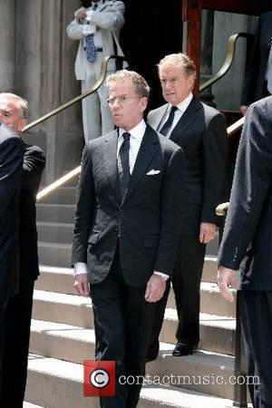 Calvin Klein and Regis Philbin depart the funeral of Claudia Cohen held at Central Synagogue New York City, USA -...