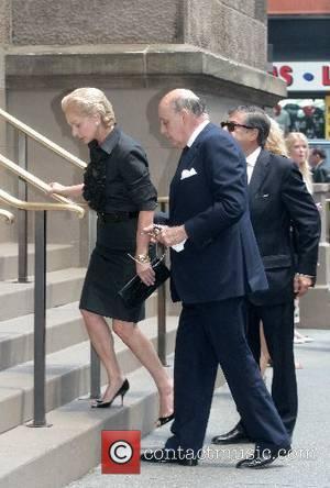 Carolina Herrera and Reinaldo Herrera arrive at the funeral of Claudia Cohen held at Central Synagogue New York City, USA...
