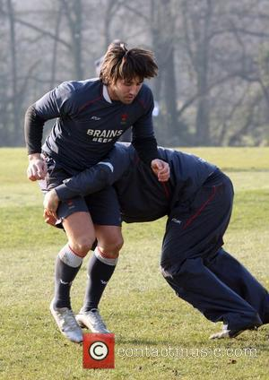 Gavin Henson Wales team training for the 6 Nations Internationals at the Welsh Rugby Union training headquaters in the Vale...