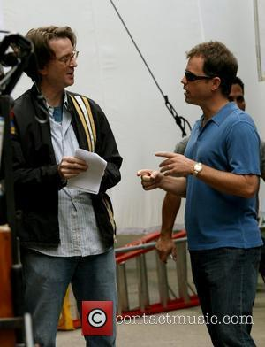 Greg Kinnear and director David Koepp filming on the movie set of 'Ghost Town'  New York City, USA -...