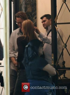 T�a Leoni and director David Koepp filming on the movie set of 'Ghost Town'  New York City, USA -...