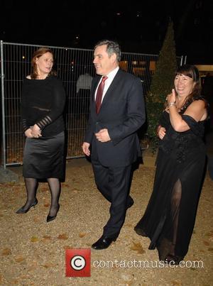 Gordon Brown, Sarah Brown and Nicola Harwin arrive at Gordon and Tana Ramsay's special dinner held on Berkeley Square London,...
