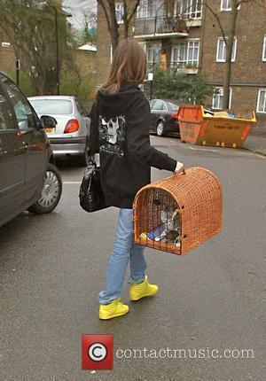 Anouck Lepere carries a kitten in a basket into Kate Moss' house London, England - 28.03.08