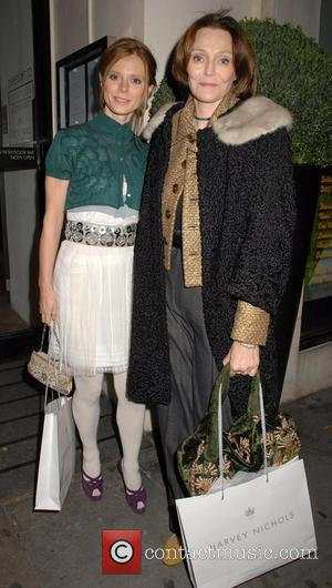 Emilia Fox and guest leaving Harvey Nichols after the Lisa Hoffman Bath And Shower Range launch party London, England -...