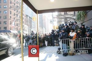 Sea of media outside of The Frank Campbell Funeral Home on Madison Avenue where the casket of actor Heath Ledger...
