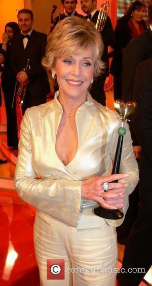 Jane Fonda receiving the Golden Heart award