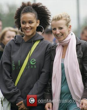 Nathalie Emmanuel and Carley Stenson Soapstars from Hollyoaks and Emmerdale at the charity football match in support of Jack and...