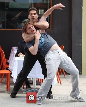Lou Ferrigno and Jason Segel on the set of the new film 'I Love You, Man' Los Angeles, California -...