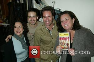 Olga Merediz, Lin-Manuel Miranda, Eric McCormack Celebrities backstage at the Broadway musical 'In The Heights' at the Richard Rodgers Theatre...