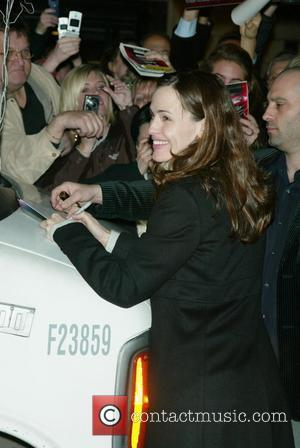 Jennifer Garner greets fans and signs autographs after her final performance in 'Cyrano de Bergerac' held at the Richard Rodgers...