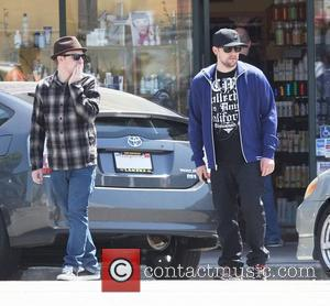Benji Madden and Joel Madden stopping to get coffee at Starbucks in West Hollywood Los Angeles, California - 22.04.08