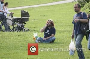 Justin Lee Collins, TV co-presenter of 'The Friday Night Project', talking on his mobile phone London, England - 12.06.07
