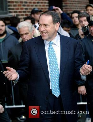 Republican presidential candidate Mike Huckabee outside Ed Sullivan Theatre for the 'Late Show With David Letterman' New York City, USA...