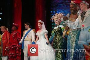 Jonathan Freeman, Tituss Burgess, Sean Palmer, Sierra Boggess, Sherie Rene Scott, Norm Lewis, Eddie Korbich and The Cast On Stage During The Curtain Call Following The Opening Night Performance Of The Little Mermaid At The Lunt Fontanne Theatre.