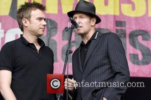 Damon Albarn and Paul Simonon The Good, The Bad and the Queen performing at the 'Love Music Hate Racism Carnival'...