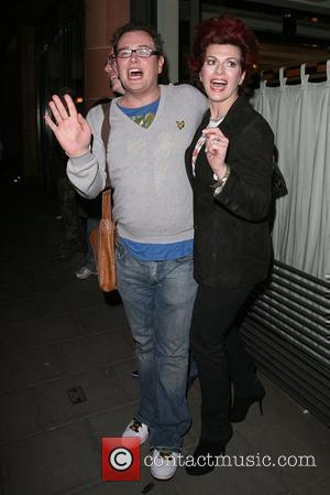 Alan Carr and Cleo Rocos leaving Cipriani restaurant. London, England - 04.04.08