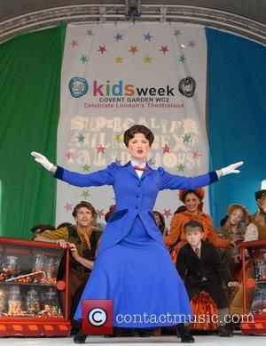 Scarlett Strallen  from 'Mary Poppins', performing extracts from the musical at Kids Week held in Covent Garden  London,...