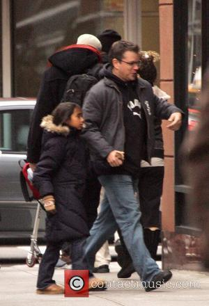 Matt Damon runs through the streets of Manhattan with his stepdaughter Alexia New York City, USA - 22.12.07