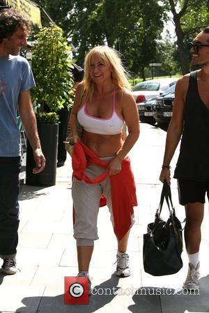 Meg Matthews going for a walk in Primrose Hill after enjoying an exercise session in the sunshine with friends London,...