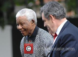 Nelson Mandela and Gordon Brown  Unveiling of Nelson Mandela's statue in Parliament Square London, England - 29.08.07