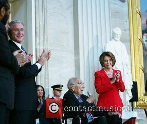 President George Bush, Dr. Michael E. DeBakey, and Nancy Pelosi,  Dr. Michael E. DeBakey received the Congressional Gold Medal...