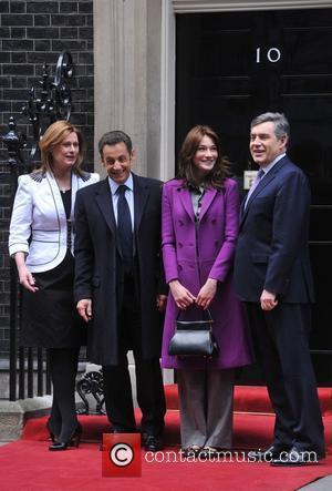 Sarah Brown, French President Nicolas Sarkozy, Carla Bruni, Prime Minister Gordon Brown and 10 Downing Street