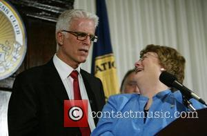Ted Danson and Sylvia Smith, President of the National Press Club addressing a luncheon discussing threats to the world's oceans...