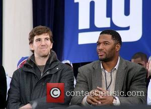 Eli Manning and Michael Strahan New York Giants victory ticker tape parade to celebrate winning Super Bowl XLII  New...