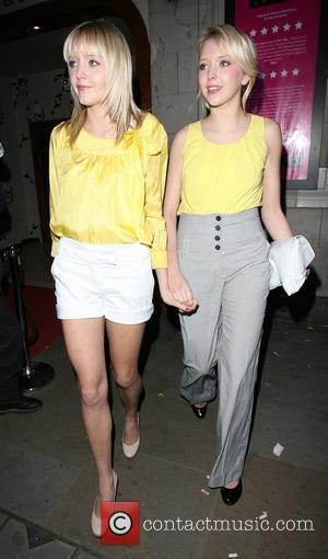Samantha Marchant and Amanda Marchant leaving the Orchid bar and lounge launch party. London, England - 17.04.08
