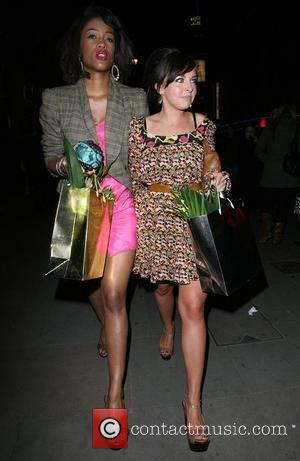 Tiana Benjamin and Louisa Lytton leaving the Orchid bar and lounge launch party. London, England - 17.04.08