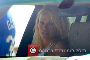 Pamela Anderson in her car, watching her sons play baseball Malibu, California - 12.04.08