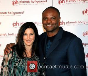Warren Moon and wife Felicia Fontenot Hendricks The grand opening celebration of Planet Hollywood Resort & Casino - Red Carpet...