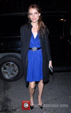 Saffron Burrows arriving for dinner at The Waverly Inn restaurant, after attending the screening of her new film 'The Bank...