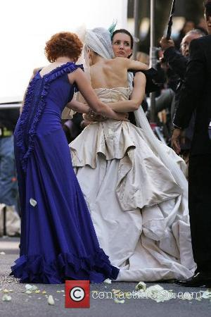 Cynthia Nixon, Sarah Jessica Parker and Kristin Davis on the film set for 'Sex And The City: The Movie'...